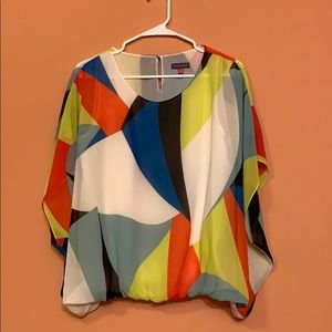 "Multicolor Vince Camuto Sheer ""Poncho"" Blouse"